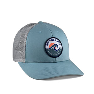 Riptide Vibes Sunset Patch Hat - Smoked Aqua