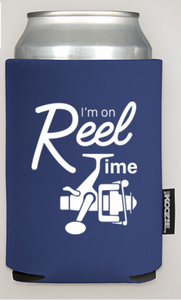 """I'm On Reel Time"" Drink Koozie"