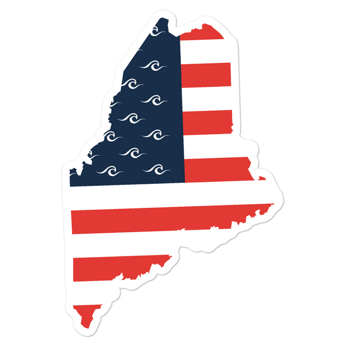 Maine American Flag Sticker