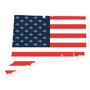 Connecticut American Flag Sticker