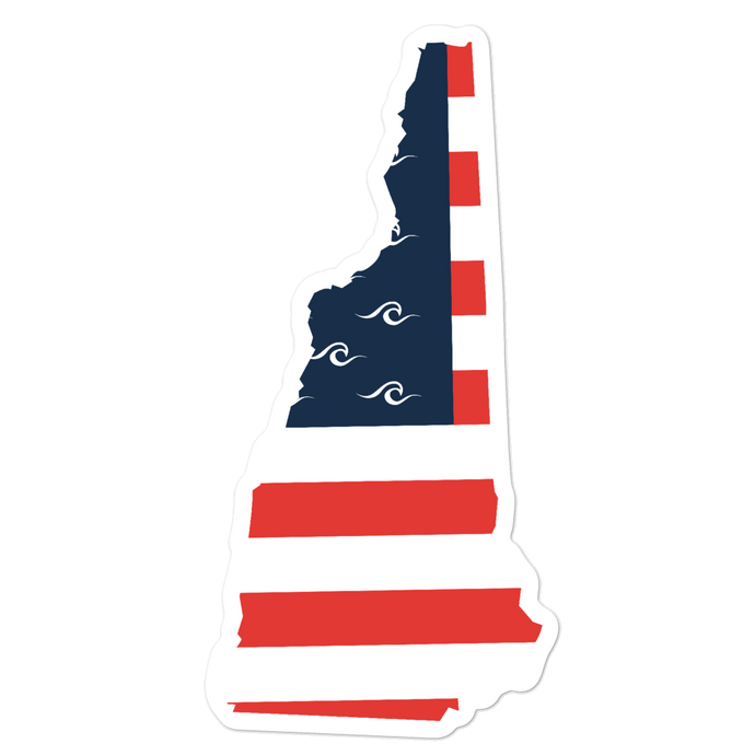 New Hampshire American Flag Sticker