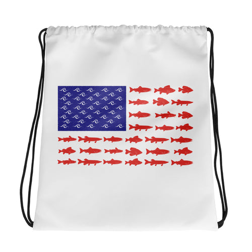 American Fish Flag Drawstring Bag