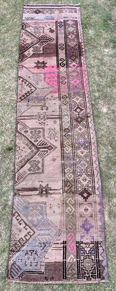 "2'5"" x 10' 3"" Vintage Turkish Oushak Runner Rug Bits"