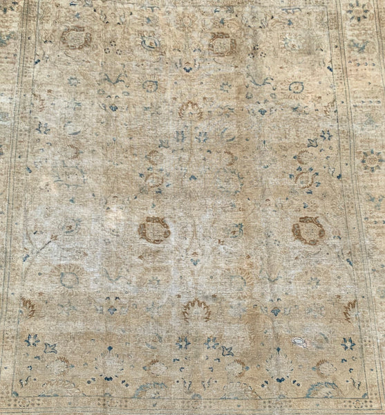 "9'6"" x 12'9"" 70yr old Vintage Distressed Tabriz"