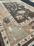 "5'6"" x 7'5"" Soft Pastel Colored Oushak Area Rug"