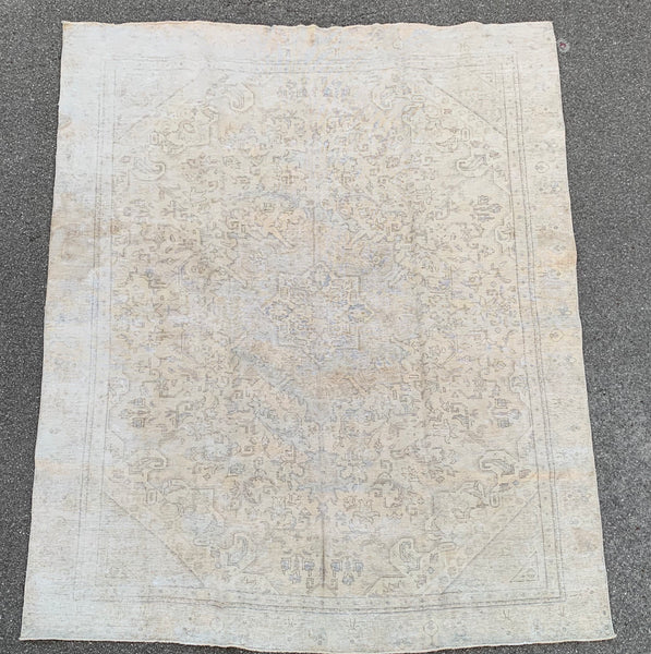 "8'10"" x 11' 6"" 80yr Old Distressed Look Vintage Tabriz"