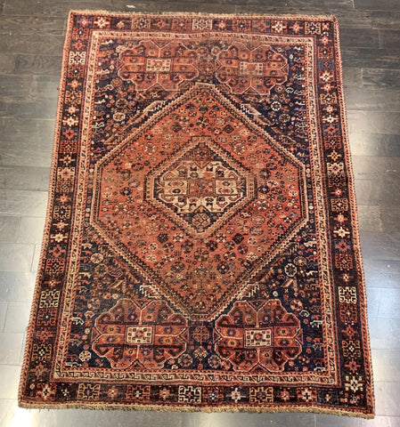 "4'6"" x 6'4""Very Old Vintage Persian Shiraz"