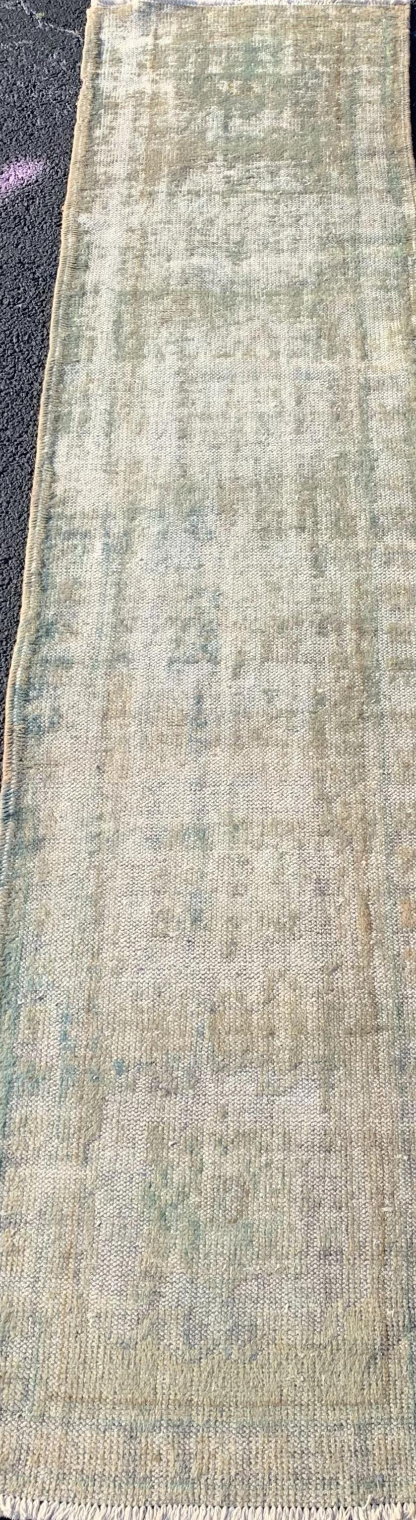 "2'9"" x 11'7"" Antique Turkish Oushak Runner - Online Oriental Rugs"
