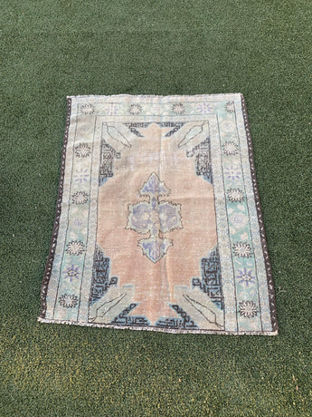 "4' x 5'1"" Antique Turkish Oushak ""Rug Bit"""