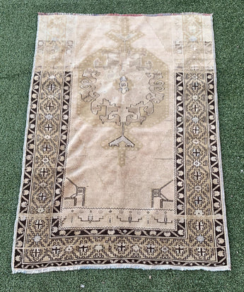 "4' x 5'8"" Antique Turkish Oushak ""Rug Bit"""