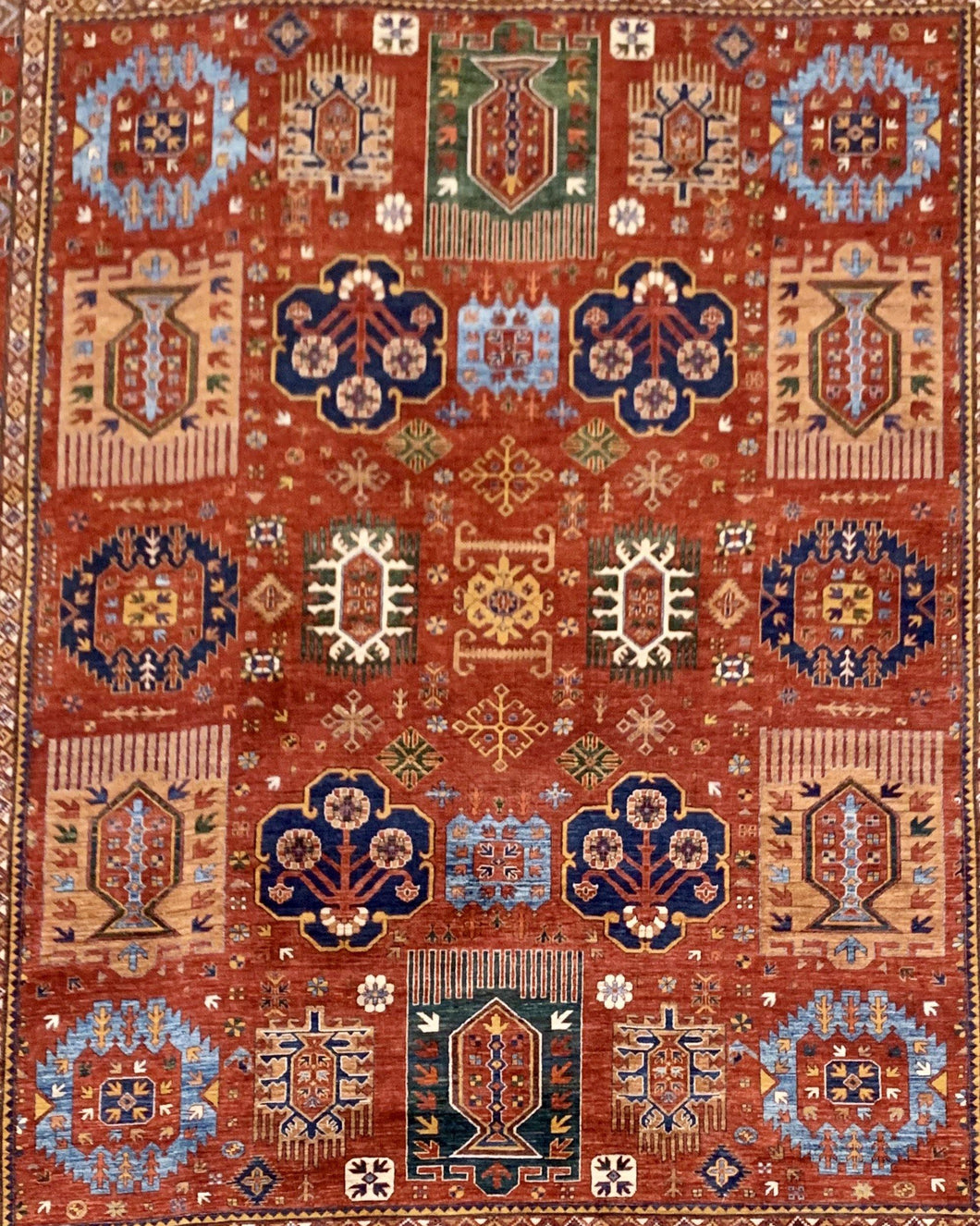 "13'10"" x 16'4"" Hand Weaved 100% Wool Kazak Large Area Rug - Online Oriental Rugs"