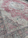 "9'5"" x 12'5"" 80yr Old Vintage Distressed Tabriz Rug"