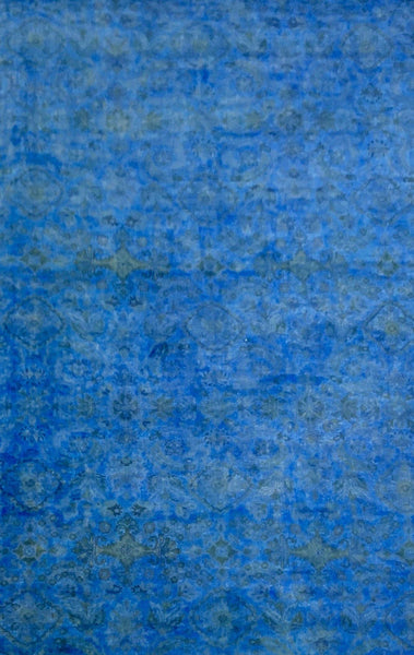 "12'2"" x 20'3"" Hand Weaved 100% Wool Azure Blue ""Super Size Me"" Overdyed Peshawar"