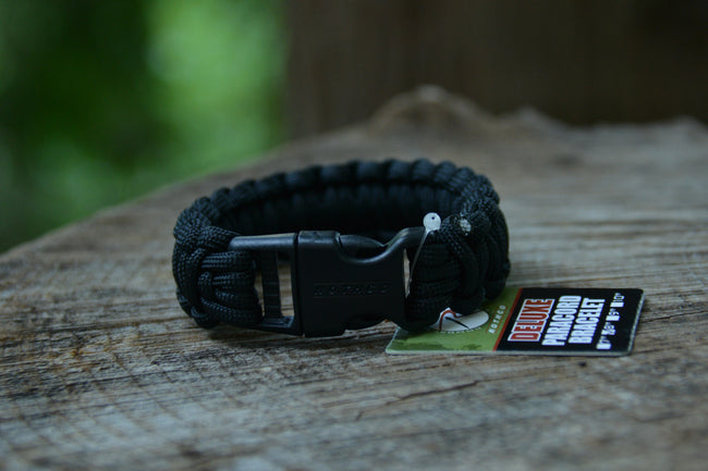 "Deluxe Paracord ""Rescue"" Bracelet - Black 8"""