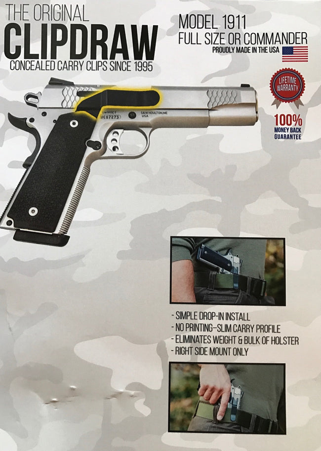 1911 Clipdraw Standard or Commander - Fullsize - Black or Silver
