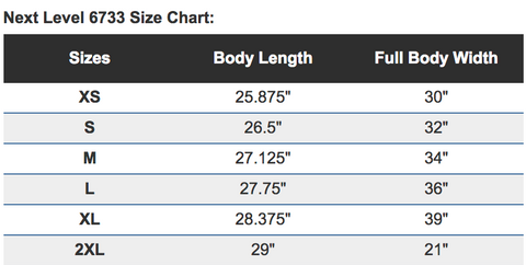 Next Level 6733 Ladies' Triblend Racerback tank size chart