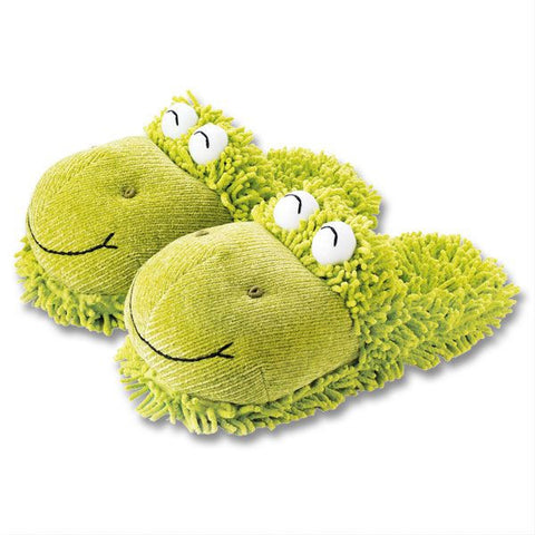Fuzzy Friend Slippers Frog - Across The Way