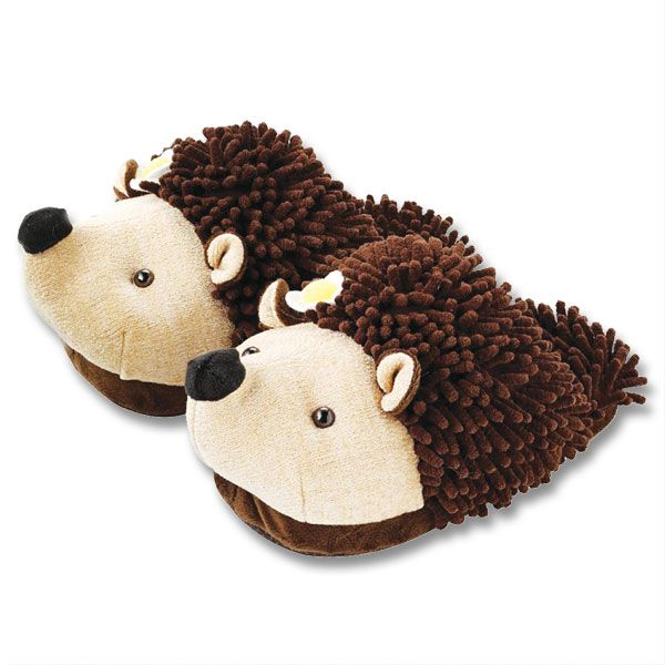 Fuzzy Friend Slippers Hedgehog