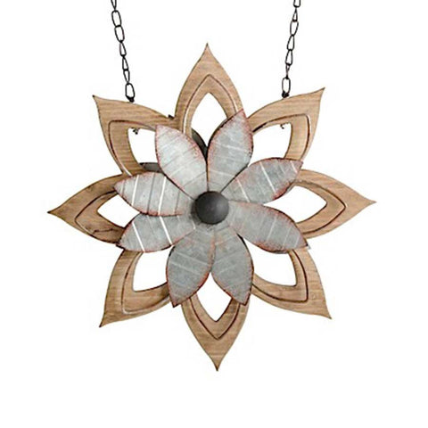 Metal & Brown Wood Flower Arrow