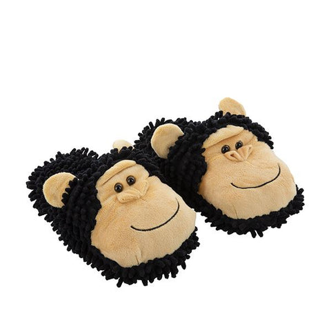 Fuzzy Friend Slippers Chimppanzee