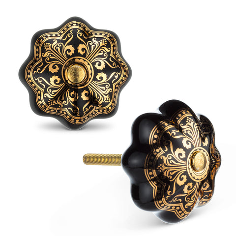 "BlkGold Ornate Knob-1.5""D"