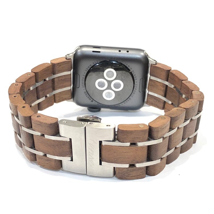 42mm - 44mm Walnut & Silver - Apple Watch Band - Across The Way