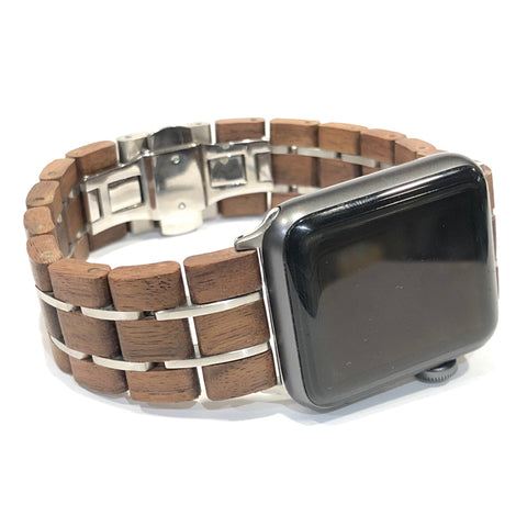 42mm - 44mm Walnut & Silver - Apple Watch Band