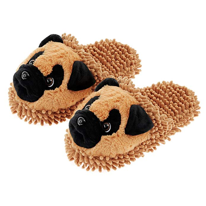 Fuzzy Friend Slippers Pug