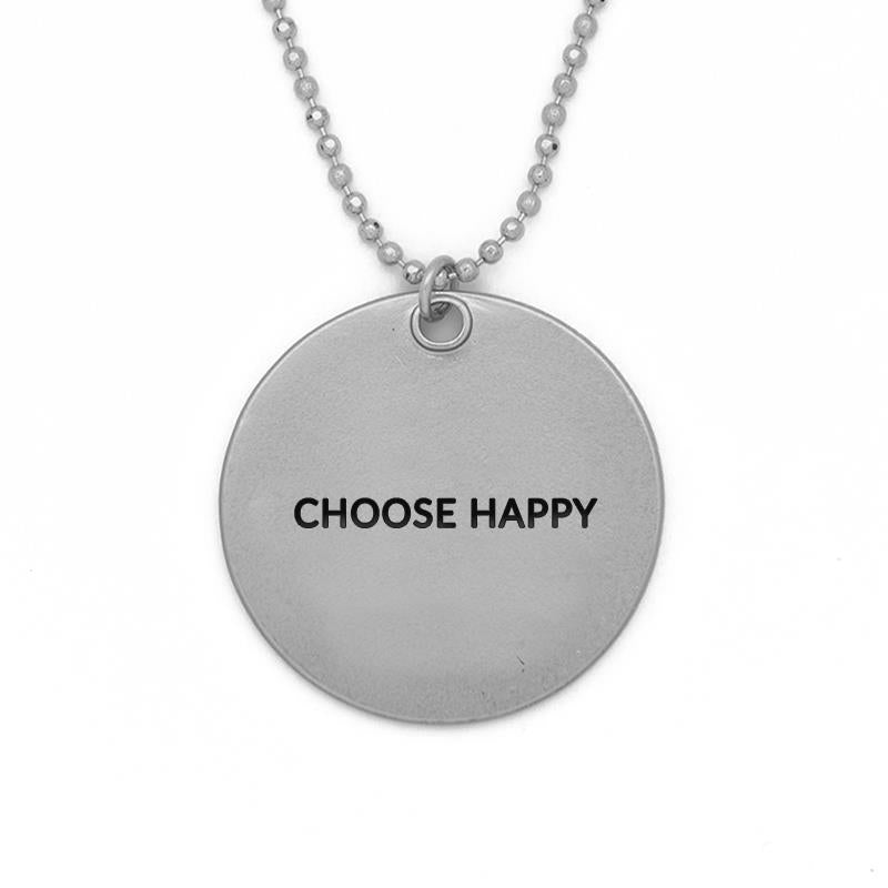 Med Circle Choose Happy matte silver