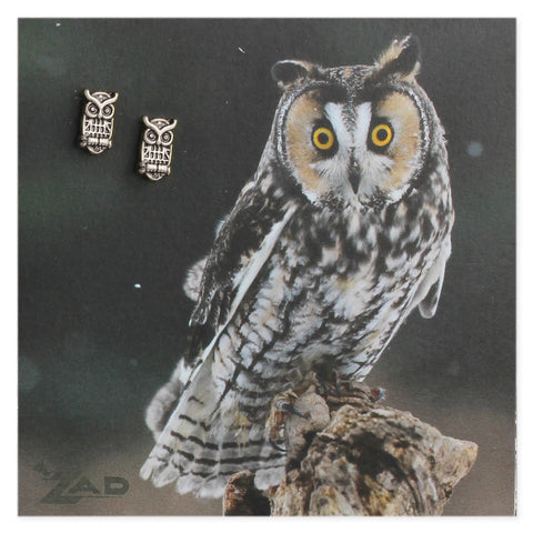 Picture Horned Owl Post Earings