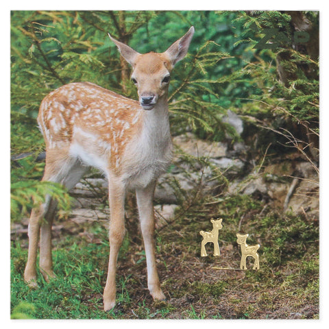 Picture Deer Fawn Post Earrings
