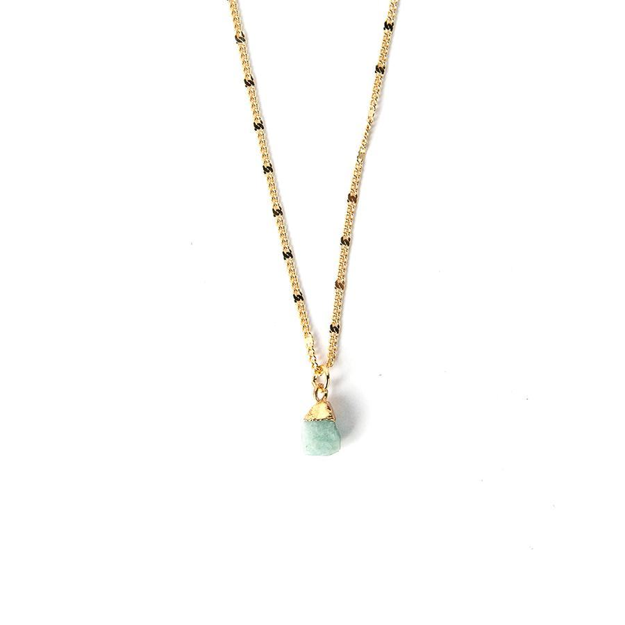 Gemstone Nugget Necklace Aqua Chalcedony - Across The Way