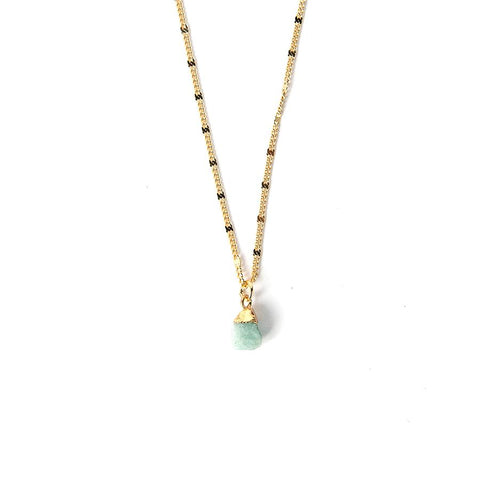 Gemstone Nugget Necklace Aqua Chalcedony