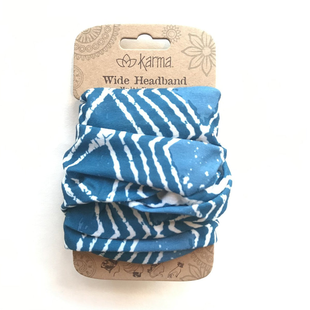 Wide Headband - Blue Batik