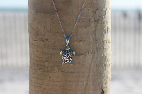 Sterling Silver Sea Turtle Pendant - Across The Way