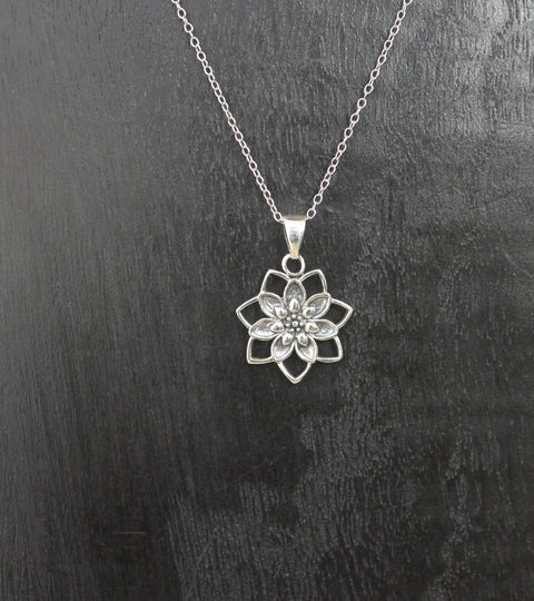 Sterling Silver Lotus Bloom Pendant