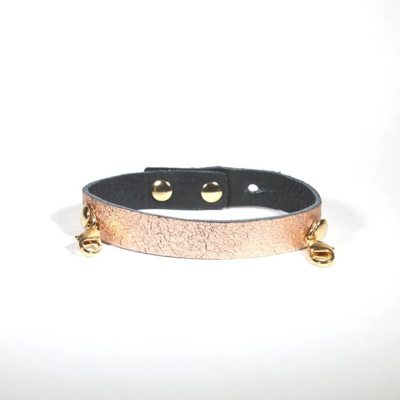 Leather Cuff - Rose Gold - Gold