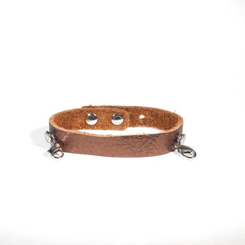 Refined Leather Cuff Bronze/Silver