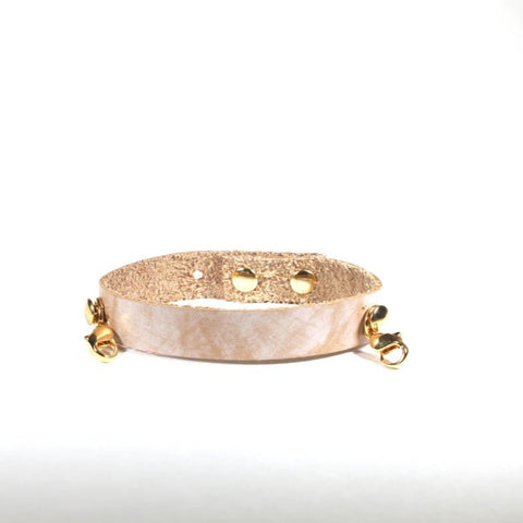 Refined Leather Cuff Bone/Gold
