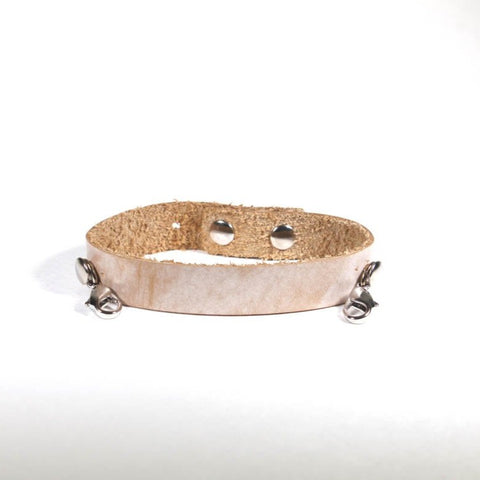 Refined Leather Cuff Bone/Silver
