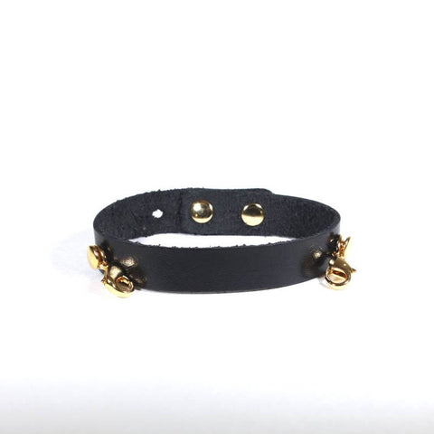 Refined Leather Cuff Black/Gold