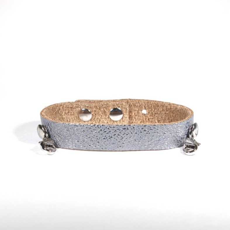 Refined Leather Cuff Gunmetal/Silver