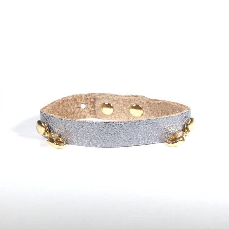 Refined Leather Cuff Gunmetal/Gold