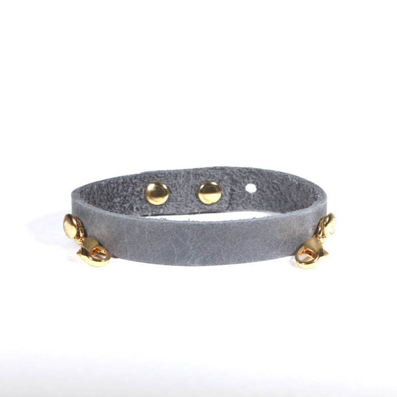 Refined Leather Cuff Dove Grey/Gold