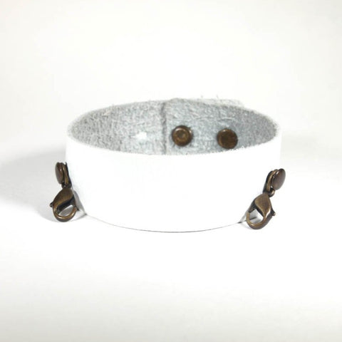 Thin Leather Cuff White/Brass