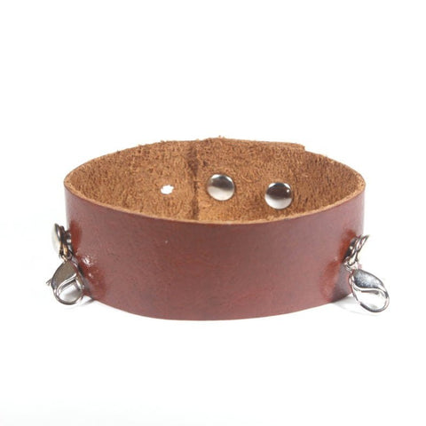 Thin Leather Cuff Dark Chestnut/Antique Silver