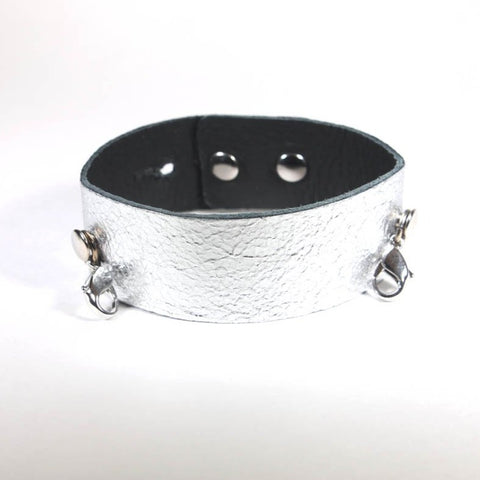Thin Leather Cuff Gunmetal/Silver
