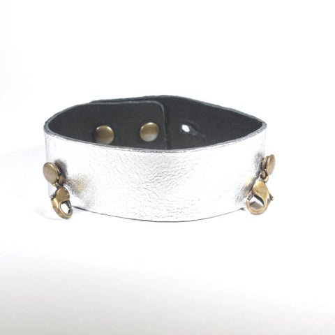 Thin Leather Cuff Gunmetal/Brass