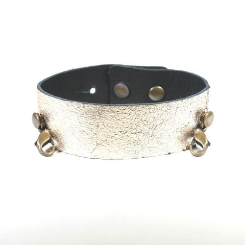 Thin Leather Cuff Gold/Brass