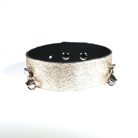 Thin Leather Cuff Gold/Silver